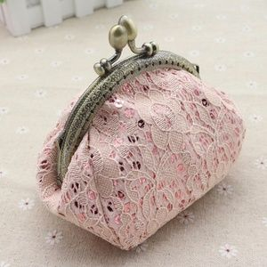 Beautiful pink lace vintage clutch coin purse bag